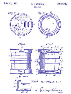 1937 Beer Keg Patent Blueprint Poster