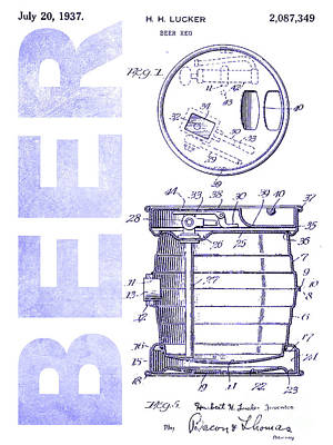 1937 Beer Tap Patent Blueprint Poster by Jon Neidert