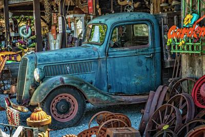 1937 Big Blue V8 Ford Pickup Truck Poster