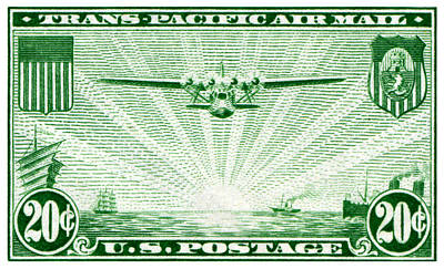 1937 China Clipper Stamp Poster