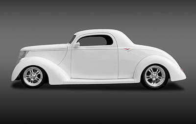 Poster featuring the photograph 1937 Ford Coupe  -  1937ford3wincoupefa172185 by Frank J Benz