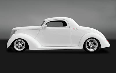 Poster featuring the photograph 1937 Ford Coupe  -  1937ford3windowcpegry172185 by Frank J Benz