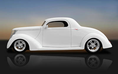 Poster featuring the photograph 1937 Ford Coupe  -  1937fordcoupereflect172185 by Frank J Benz