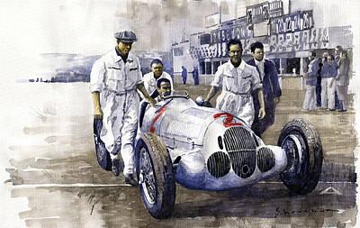 1937 Italian Gp Mercedes Benz W125 Rudolf Caracciola Poster by Yuriy Shevchuk