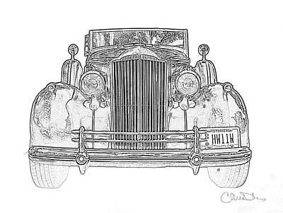 1937 Packard Convertible Coupe Roaster With Rumble Seat Black And White Drawing Poster