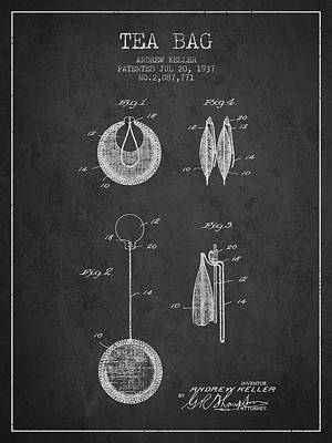 1937 Tea Bag Patent 02 - Charcoal Poster by Aged Pixel