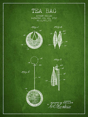 1937 Tea Bag Patent 02 - Green Poster by Aged Pixel