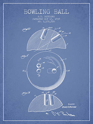 1939 Bowling Ball Patent - Light Blue Poster