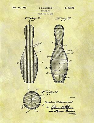 1939 Bowling Pin Patent Poster