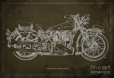 1939 Brough Superior Ss100 Blueprint Brown Background Poster