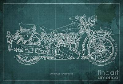 1939 Brough Superior Ss100 Blueprint Green Background Poster
