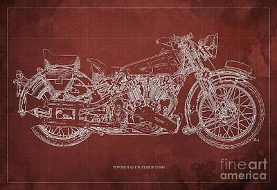 1939 Brough Superior Ss100 Blueprint Red Background Poster