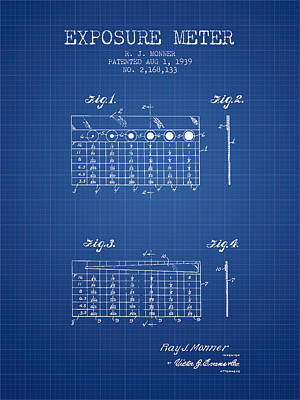 1939 Exposure Meter Patent - Blueprint Poster by Aged Pixel