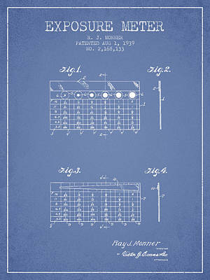 1939 Exposure Meter Patent - Light Blue Poster by Aged Pixel