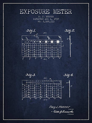 1939 Exposure Meter Patent - Navy Blue Poster by Aged Pixel