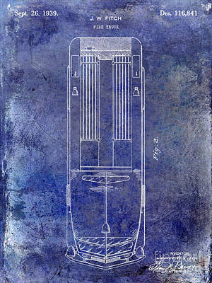 1939 Fire Truck Patent Blue Poster