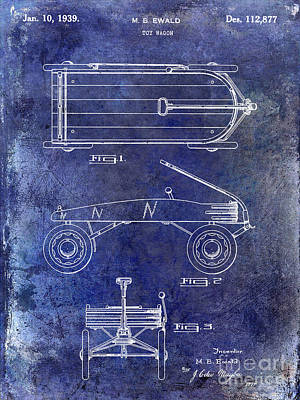 1939 Toy Wagon Patent Blue Poster by Jon Neidert