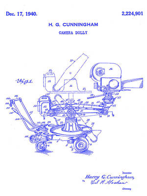 1940 Camera Dolly Patent  Blueprint Poster