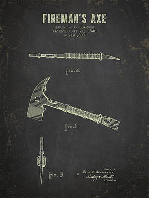 1940 Firemans Axe Patent - Dark Grunge Poster by Aged Pixel