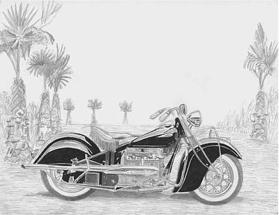 1940 Indian Four Motorcycle Art Print Poster by Stephen Rooks