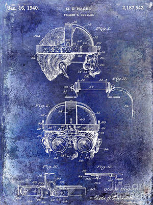 1940 Welders Goggles Patent Blue Poster