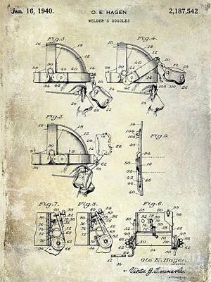 1940 Welders Goggles Patent Poster by Jon Neidert