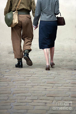 1940s Couple Soldier And Civilian Holding Hands Poster
