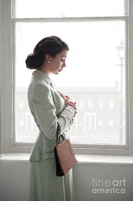 Poster featuring the photograph 1940s Woman At The Window by Lee Avison