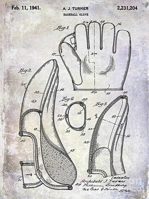 1941 Baseball Glove Patent Poster