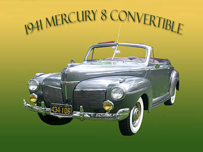 1941 Mercury Eight Convertible Poster by Jack Pumphrey