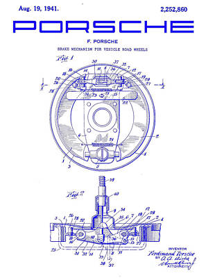 1941 Porsche Brake Mechanism Patent Blueprint Poster