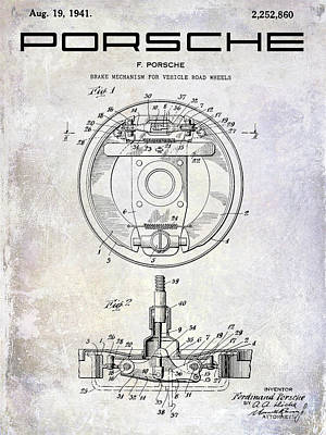 1941 Porsche Brake Mechanism Patent Poster