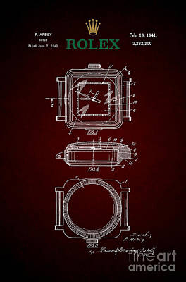 1941 Rolex Watch Patent 4 Poster by Nishanth Gopinathan