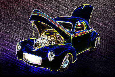 1941 Willys Coope Classic Car Color Drawing 1238.02 Poster by M K  Miller