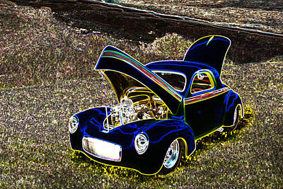 1941 Willys Coope Classic Car Color Drawing 1239.02 Poster by M K  Miller