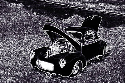1941 Willys Coope Classic Car Drawing 1243.01 Poster by M K  Miller
