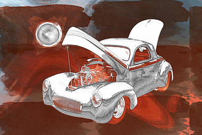 1941 Willys Coope Classic Car Painting Print 1237.02 Poster by M K  Miller
