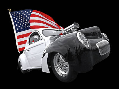 1941 Willys Coupe With Us Flag Poster by Gill Billington