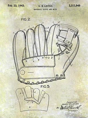 1943 Baseball Glove Patent Poster