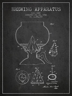 1944 Brewing Apparatus Patent - Charcoal Poster by Aged Pixel