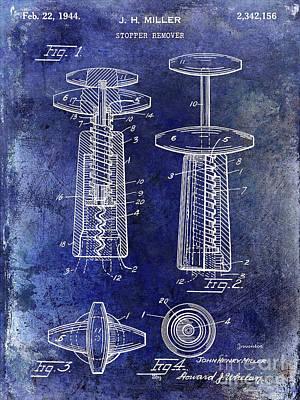1944 Corkscrew Patent  Blue Poster