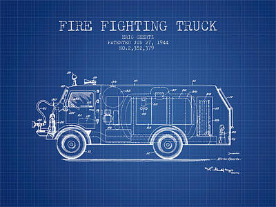 1944  Fire Fighting Truck Patent - Blueprint Poster by Aged Pixel