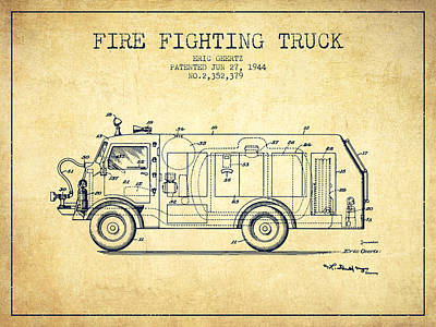 1944  Fire Fighting Truck Patent - Vintage Poster by Aged Pixel