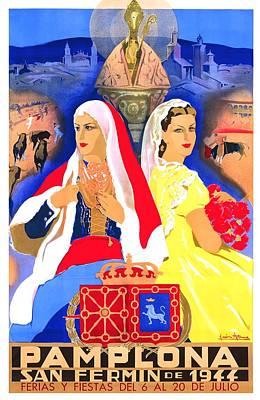 1944 Pamplona Spain San Fermin Festival Poster Poster