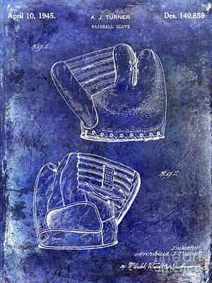 1945 Baseball Glove Patent Blue Poster