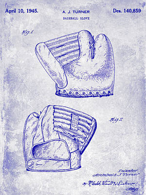1945 Baseball Glove Patent Blueprint Poster