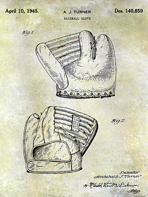 1945 Baseball Glove Patent Poster