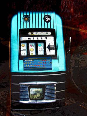 1945 Mills High Top 5 Cent Nickel Slot Machine Poster by Karon Melillo DeVega
