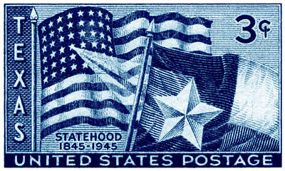 1945 Texas Statehood Stamp Poster by Historic Image