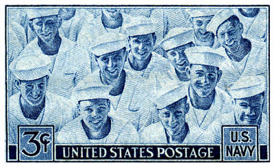 1945 Us Navy Issue Stamp Poster